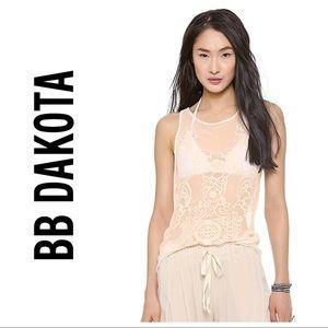 BB Dakota Jayda Sheer Embroidered Boho Tank Top